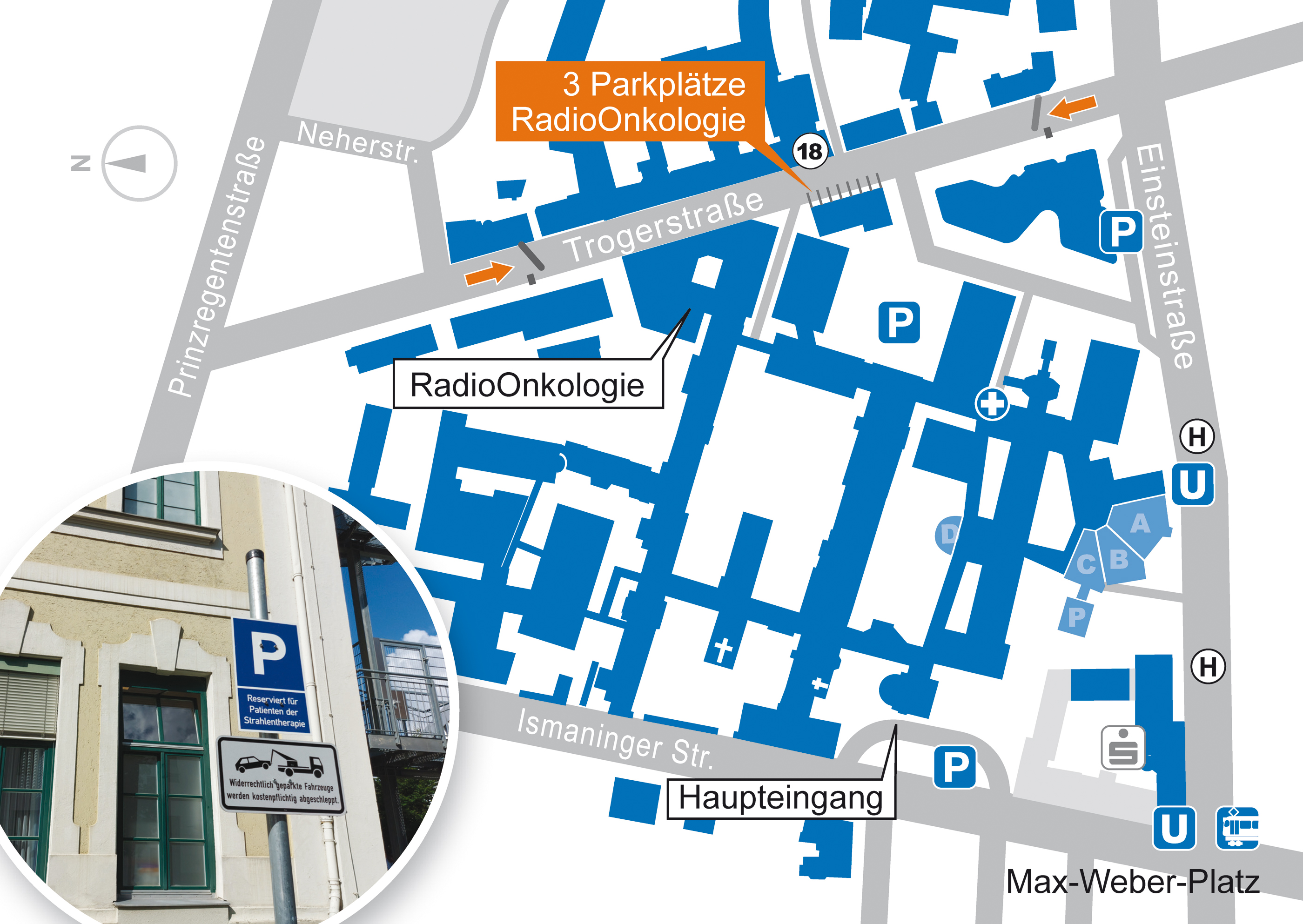 Gebäudeplan/Lageplan Klinikum rechts der Isar und Patientenparkplätze der RadioOnkologie